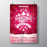 Vector Merry Christmas Party Flyer Illustration with Typography and Holiday Elements on Red background. Winter Landscape Stock Photos