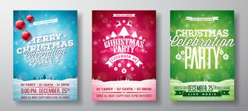Vector Merry Christmas Party Flyer Illustration with Typography and Holiday Elements on Vintage background. Winter Stock Photography