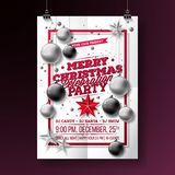 Vector Merry Christmas Party Flyer Illustration with Typography and Holiday Elements on White background. Invitation. Poster Template royalty free illustration