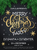 Vector merry christmas party poster with christmas fir-tree branches, golden stars and lettering greetings word - Royalty Free Stock Image