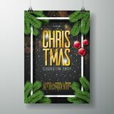 Vector Merry Christmas Party Poster Design Template With Holiday Typography Stock Image