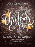 Vector merry christmas party poster with lettering word - christmas , golden stars and snowflakes on shiny snow Royalty Free Stock Photo