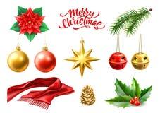 Vector merry christmas realistic symbols, toys set vector illustration