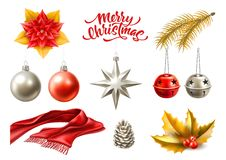 Vector merry christmas realistic symbols, toys set royalty free illustration
