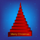 Vector merry christmas red ribbon tree Stock Image