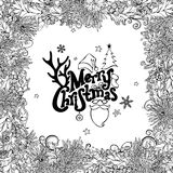 Vector Merry Christmas round frame. Hand-drawn contours of mistletoe, pine branch and cone. Vector black and white illustration. Hand-written festive lettering Royalty Free Stock Images