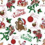 Vector Merry Christmas Santa Mistletoe Seamless Royalty Free Stock Images