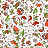 Vector Merry Christmas seamless pattern. Christmas tree baubles, poinsettia, sweets, candy canes, Santa socks, gifts, stars, music notes and snowflakes Stock Photography