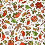 Vector Merry Christmas seamless pattern. Christmas tree baubles, poinsettia, sweets, candy canes, Santa socks, gifts, stars, music notes and snowflakes Stock Images