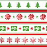 Vector Merry Christmas seamless pattern with tree, snowflakes, candy, gift, shevron on white Stock Image