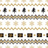 Vector Merry Christmas seamless pattern with tree, snowflakes, gift, shevron gold back colors stock illustration