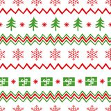 Vector Merry Christmas seamless pattern with tree, snowflakes, gift, shevron on white Royalty Free Stock Photography