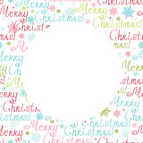 Vector merry christmas text circle frame seamless Royalty Free Stock Images