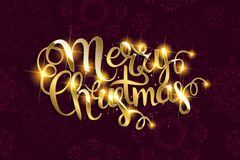 Vector Merry Christmas text with glitter elements. Stock Image