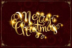 Vector Merry Christmas text with glitter elements. Royalty Free Stock Photo