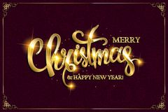 Vector Merry Christmas text with glitter elements. Royalty Free Stock Photography
