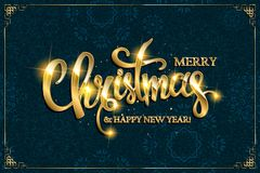 Vector Merry Christmas text with glitter elements. Stock Photos
