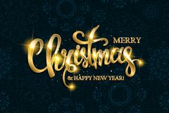 Vector Merry Christmas text with glitter elements. Stock Images