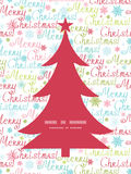 Vector merry christmas text pine tree silhouette Stock Photos