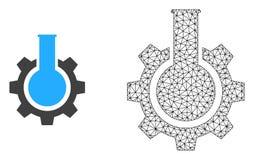 Vector Mesh Chemical Industry poligonal e icono plano stock de ilustración