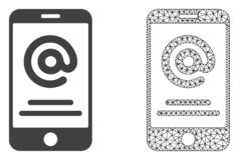 Vector Mesh Smartphone Address Info poligonal e icono plano libre illustration