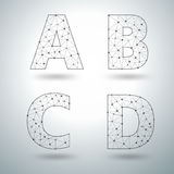 Vector mesh stylish alphabet letters A B C D Stock Photo