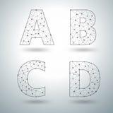 Vector mesh stylish alphabet letters A B C D Stock Photo