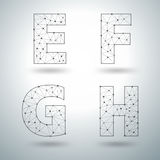 Vector mesh stylish alphabet letters E F G H Stock Photo