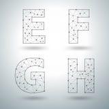 Vector mesh stylish alphabet letters E F G H stock illustration
