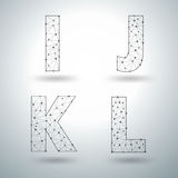 Vector mesh stylish alphabet letters I J K L Royalty Free Stock Image
