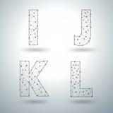 Vector mesh stylish alphabet letters I J K L royalty free illustration