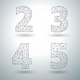 Vector mesh stylish alphabet letters numbers 2 3 4 5 Stock Image