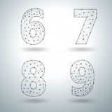 Vector mesh stylish alphabet letters numbers 6 7 8 9 vector illustration