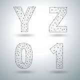 Vector mesh stylish alphabet letters numbers Y Z 0 1 Stock Images