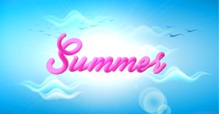 Vector mesh summer vacation holiday cloud sky. Vector mesh blue cloud sky background with summer lettering inscription. Holiday traveling vacation backdrop Stock Photography