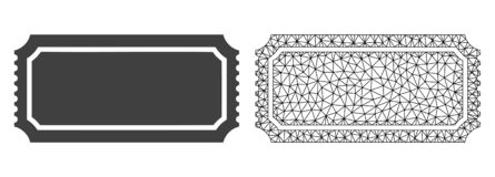Vector Mesh Ticket Template poligonal e icono plano ilustración del vector