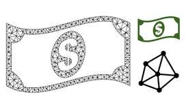 Vector Mesh Waving Dollar Banknote poligonal e icono plano stock de ilustración