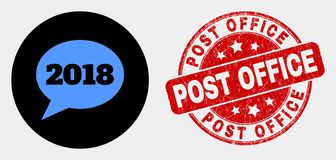 Vector 2018 Message Balloon Icon and Distress Post Office Seal. Rounded 2018 message balloon pictogram and Post Office seal stamp. Red rounded distress seal royalty free illustration
