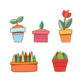 Vector met beeldverhaalbloemen wordt geplaatst in potten die Stock Afbeelding
