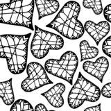 Vector met de hand geschilderd naadloos patroon met inktharten abstracte achtergrond vector illustratie