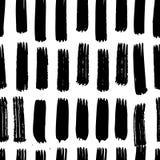 Vector met de hand geschilderd naadloos patroon met de slagen van de inktborstel Stock Foto's
