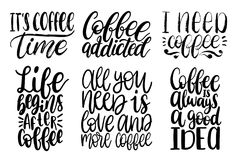 Vector met de hand geschreven geplaatste koffieuitdrukkingen Citatentypografie Kalligrafieillustraties voor restaurantaffiche, ko Stock Fotografie