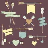 Vector met etnische pijlen, linten, vlaggen, harten wordt geplaatst dat vector illustratie