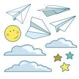 Vector met geïsoleerde document vliegtuigen, sterren, maan, wolken wordt geplaatst die Royalty-vrije Stock Fotografie