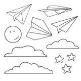 Vector met geïsoleerde document vliegtuigen, sterren, maan, wolken wordt geplaatst die Stock Foto's