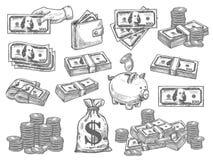 Vector met geld wordt geplaatst dat royalty-vrije illustratie