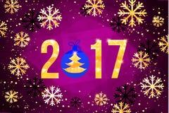 Vector 2017 met gouden haan, dierlijk symbool van Nieuwjaar Stock Foto