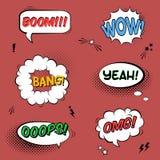 Vector met grappige toespraakbellen wordt geplaatst met geluidseffecten, sterren die Royalty-vrije Stock Foto