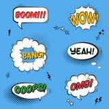 Vector met grappige toespraakbellen wordt geplaatst met geluidseffecten, sterren die Stock Foto