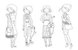Vector met hand getrokken maniermeisjes wordt geplaatst in vrijetijdskleding die De zomer ziet eruit, goed voor jonge hipstervrou Royalty-vrije Stock Afbeelding